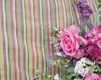 P Kauffman Raspberry and Plum Stripe on Green Fabric
