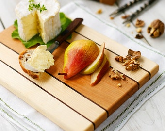 Serving Board,Wood Cutting Board, Cheese Board, Maple, Cherry and Walnut