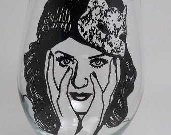Katy Perry, Hand Painted Glass, Painted Wine Glass