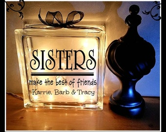 Sisters Glass Block Light / Siblings / Night Light / Personalized / Custom