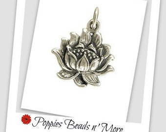 Sterling Silver Textured Lotus Blossom Charm
