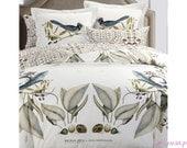 Cotton Sateen 400TC Bedding Full Set White Duvet Cover Flat Sheet 4 Pillow Cases Design Alena Akhmadulina