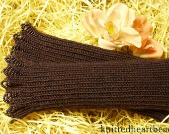 100% merino wool beaded wrist warmers / fingerless gloves purple