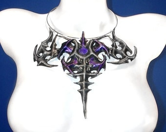 Gunmetal and Purple Leather Spiked Gothic Tibal Fall Necklace