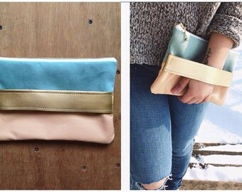 gold and pastel clutch