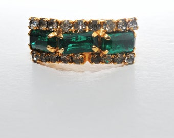 Retro Emerald Green and Clear Rhinestone Ring