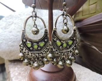 Ethnic earrings, Bohemian earrings, Boho earrings, Bronze dangle earrings,  Bronze Bells earrings, UK Seller