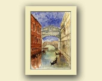 Venice city - Bridge of sighs Grand canal italy cityscape decor- italian original art wall - Original watercolor painting- Juan Bosco