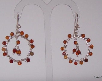 Sterling silver earrings with carnelian