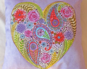 Beautiful Heart Filled With Flowers Cushion