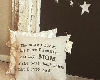 My Mom, My Best Friend - Embroidered Accent Pillow