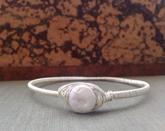 Silver Pearl Wire Wrapped Bracelet