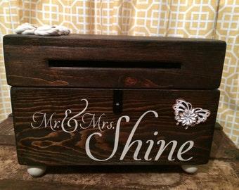Custom Wood Wedding Card Box