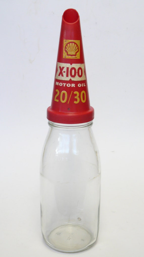 Vintage Shell X 100 Motor Oil Bottle 1 Quart 20 30 Glass
