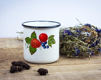 Enamel mug - mug - white mug- Soviet enamelware - Russian retro - Made in USSR