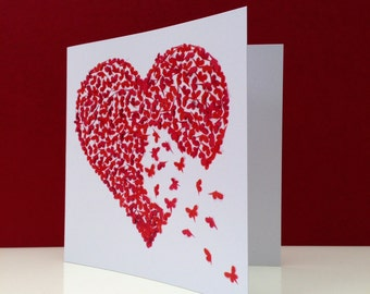 Valentine Card, Butterfly Card, Romantic card, Anniversary card, Wedding Card, Heart Card, heart birthday card, butterfly birthday card