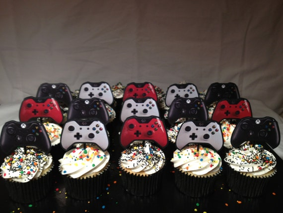 Xbox one video game party cupcake picks by munchkinmomcupcakes for Decoration xbox one