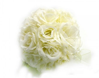 Ivory Cream Rose Kissing Balls Elegant Wedding Flower Pomanders Decoration....Free Shipping in US!