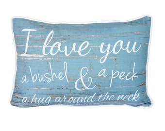 Bushel and A Peck Pillow - 18x12 - Love, Blue, Pillow Included, 1064P