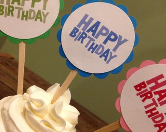 Set of 16, Happy Birthday Cupcake Toppers, Birthday Party Cupcake Toppers