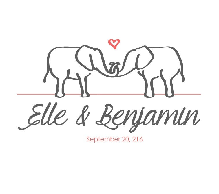 Elephant wedding logo with calligraphy and by loveandlogos