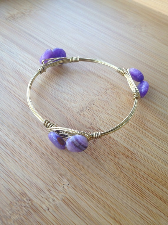 Light Purple Marble : Light purple mini stone bangle