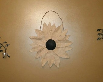 Natural burlap flower hanging,  24 inching