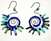 Blue Spiral Earrings, Blue Beaded Hoop Earrings, Blue Wire Wrapped Earrings, Funky Blue Spiral Earrings, Summer Jewelry