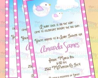 Baby Shower Birds Invitation - Girl 3
