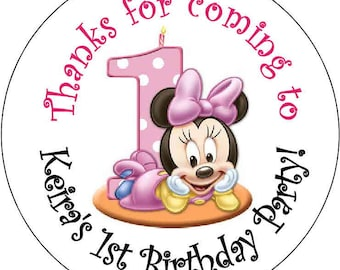12 Baby Minnie mouse 1st Theme Birthday Party Stickers 2.5 inch Round Personalized kids