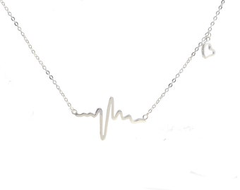 Sterling Silver ' My Heart Skipped a Beat ' Cardiogram Heartbeat Necklace  16'' - 18'' n3