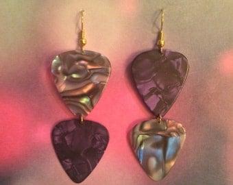 Purple & Abalone guitar pic earrings