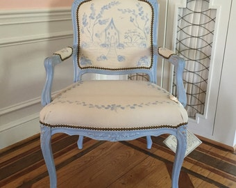 French blue side chair