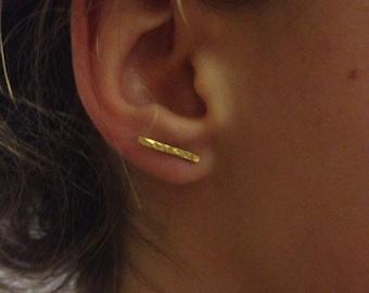 Gold vermeil textured bar earrings