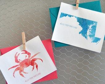 8 Watercolor Maryland folded notecards + envelopes