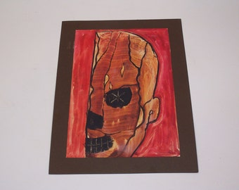 vintage original painting, signed, scull