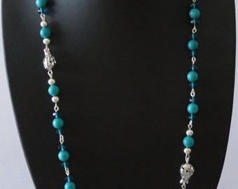 Blue turquoise, silver and Austrian Crystal Necklace solid 925
