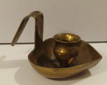 Vintage BRASS CANDLE HOLDER Made in India and in Good Condition With Some Nice Patina.