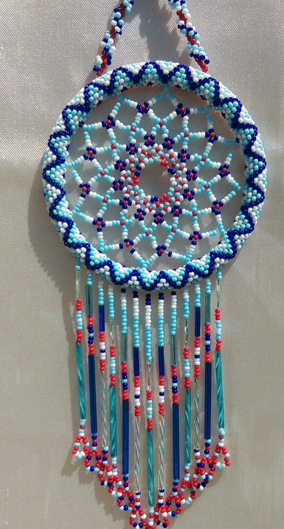 Handmade tennessee titans beaded dream catcher by redmoonbeads for Dreamcatcher beads meaning
