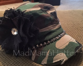 Custom military camo cadet hat with bling and a rhinestone centered burlap flower.