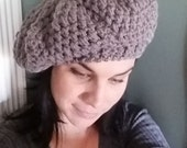 hat, crochet hat, slouchy hat, slouchy hats, women's hat, pewter, smoke free home, gift for her, washable, gift, slouchy, handmade