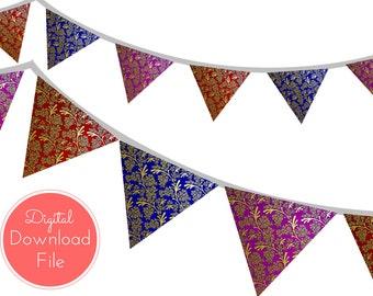 Moroccan Damask Banner, Bunting, Pennant, Garland, Printable Banner, Baby Shower Banner, Birthday Party, Bridal Shower, Wedding banner