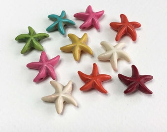 Starfish Beads. 13mm. Brightly Coloured Dyed Howlite. Pack of 10.