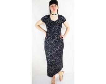 90s Vintage Stretchy Floral Maxi Dress / 1990s VTG