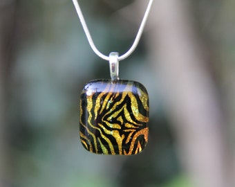 Orange and yellow tiger stripes dichroic glass pendant,  dichroic glass necklace
