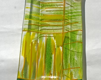 Art glass oblong relish dish.