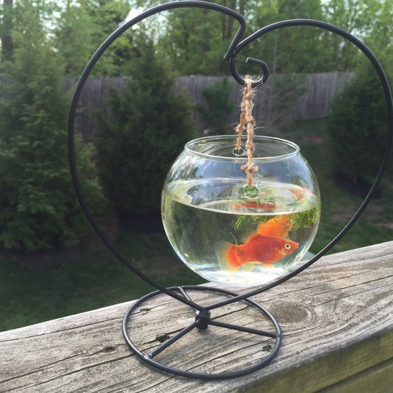 Hanging fish bowl mounted fish bowl by for Fish bowl stand