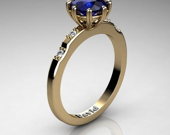 Classic 14K Yellow Gold 1 Carat Blue Sapphire Diamond Solitaire Engagement Ring R1005-14KYGDBS
