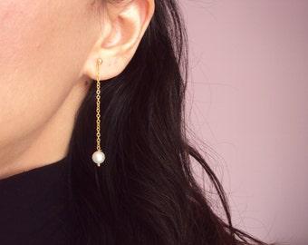 Pearl Studs, Gold Pearl Stud Earrings, Bridesmaid Jewelry, 14K Gold Earrings, Bridesmaid Gift, White Pearl Earrings, Bridal Earrings.