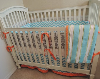 Orange and Aqua Baby Bedding Set